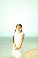 Portrait of girl at beach, Awaji city, Hyogo prefecture, Japan