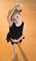 Young girl at ballet class