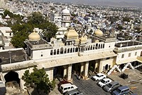 View of courtyard, City Palace, Udaipur, Rajasthan, India