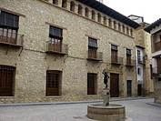 Main square Rubielos de Mora village Gudar mountains Teruel province Aragon Spain