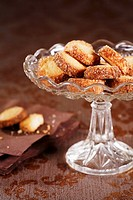 Butter biscuits with cinnamon sugar on cake stand