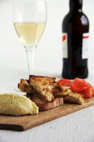 Toast, cod spread and wine Spain