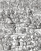 Queen Elizabeth I at a royal picnic  From the book Short History of the English People by J R  Green, published London 1893