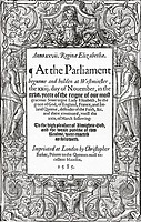 Title page of Acts of Parliament, 1585  From the book Short History of the English People by J R  Green, published London 1893