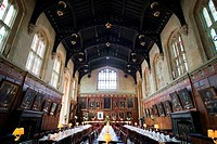 Interiors of a dining hall, Christ Church, Oxford University, Oxford, Oxfordshire, England