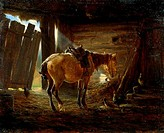 Horse in Peasant Stables by Nikolai Alekseevich Bogatov, oil on canvas, 19th century, Russia, Moscow, The State Tretyakov Gallery