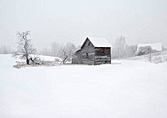 Farmhouses in winter, Leelanau Peninsula, Michigan, USA