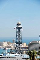 Torre de Jaume I, one of the stops of the cable car from the harbour to Montjuic. Part of the World Trade Centre building can be seen on the right.  B...