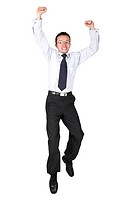 business man jumping over white