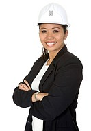 Asian business female architect with a smile on her face over a white background