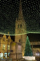 England, County Durham, Durham. Christmas Tree in the Market Place of Durham City.