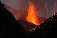 Molten lava erupts from Stromboli Sicily