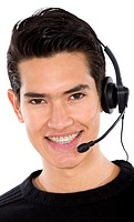 male customer service representative smiling over a white background