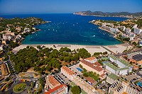Santa Ponsa with Andritxol and Des Llamp capes in background, Majorca, Balearic Islands, Spain