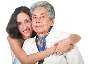 grandmother and her grandchild over a white background