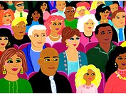 A painting of a multi ethnic audience