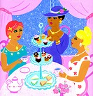 Three women having high tea