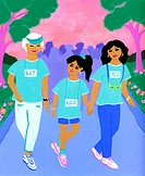 Three generations of women at a mother_daughter walkathon