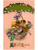 A vintage Easter postcard of a basket full of chicks and violets hanging from a pussy willow branch