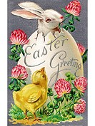 A vintage Easter postcard of a chick looking at a rabbit hatching from an egg (thumbnail)
