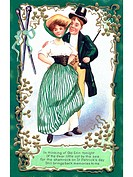 An Irish poem printed on a vintage card with an illustration of a dancing couple