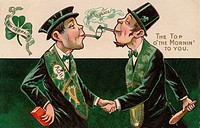 A vintage St. Patricks Day card of two men smoking pipes