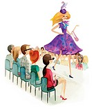 A watercolor illustration of people watching a fashion show (thumbnail)