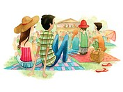 A watercolor illustration of people at an outdoor music festival (thumbnail)