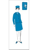 A retro illustration of a female flight attendant