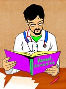 A doctor reading up on Herbal remedies