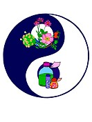 A Yin and Yang symbol with organic and chemical matter