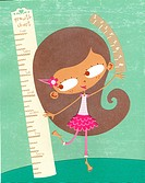 A paper cut illustration of a girl measuring her height