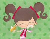 A paper cut illustration of a girl using tissues on a runny nose (thumbnail)
