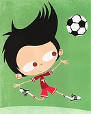 A paper cut illustration of a boy playing soccer