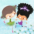 A paper cut illustration of two girls playing outdoors around flowers