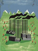 Factories in the mountains with barcode smoke chimneys