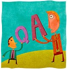 A small businessman holding a Q for question and a large businessman holding an A for answer