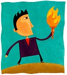 A businessman holding a flaming torch (thumbnail)