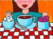 A woman declining sugar and opting for sweetener for her coffee (thumbnail)