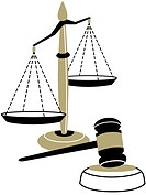 An illustration of the scales of justice and a judges gavel