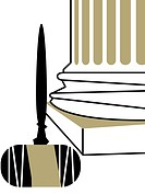 An illustration of an upside down judges gavel at the base of a column
