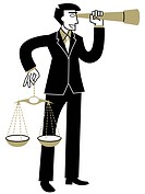 A businessman looking through a telescope while holding the Scales of Justice (thumbnail)