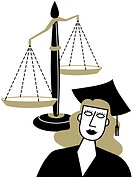 A woman in a graduation cap and gown in front of the Scales of Justice