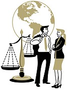 A man and woman talking in front of the globe and Scales of Justice (thumbnail)