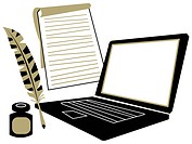 A laptop computer, a notepad, a quill and inkwell (thumbnail)