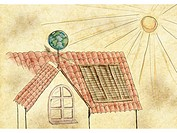 A house collecting solar energy (thumbnail)
