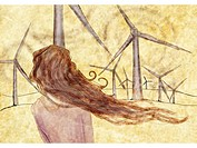 A woman standing in front of wind mills