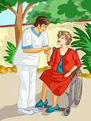 A health care worker comforting an elderly woman in a wheel chair