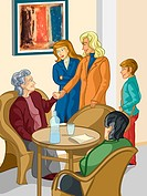 A family visiting a relative in an elderly care facility