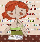 A woman thinking about what to write in her journal (thumbnail)